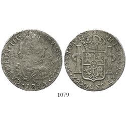 Lima, Peru, bust 8 reales, Charles III, 1784MI.