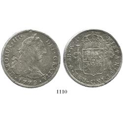 Mexico City, Mexico, bust 8 reales, Charles III, 1772FM (initials facing rim).