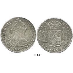 Lima, Peru, bust 8 reales, Charles III, 1777MJ.