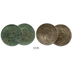 Lot of 2 British copper halfpennies of George III dated 1807.