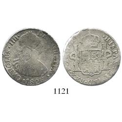 Mexico City, Mexico, bust 2 reales, Charles IV, 1808TH, scarce early type from this wreck.