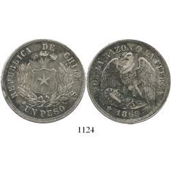 Santiago, Chile, 1 peso, 1869.