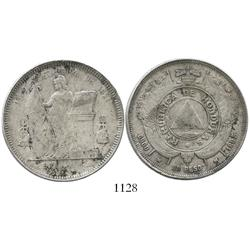 Honduras, 1 peso, 1895 with multiple overdates.
