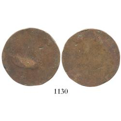 Unidentified copper coin (heavily worn), scarce provenance.