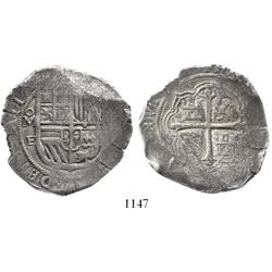 Mexico City, Mexico, cob 8 reales, Philip III, assayer F, pre-date type.