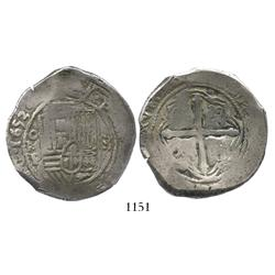 Mexico City, Mexico, cob 8 reales, 1653P, choice.
