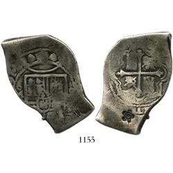 Mexico City, Mexico, cob 8 reales, Charles II, (167?)5(G), with 5-petal flower countermark (1 real b