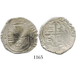 Mexico City, Mexico, cob 4 reales, Philip II, assayer F.