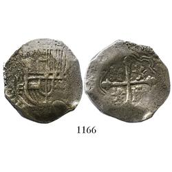 Mexico City, Mexico, cob 4 reales, Philip III, assayer F, salvaged.