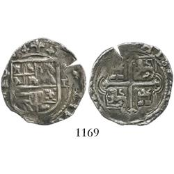 Mexico City, Mexico, cob 2 reales, Philip II, assayer F.