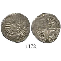 Mexico, cob 1 real, Philip II, upside-down mintmark oM to left, denomination I over assayer O to rig