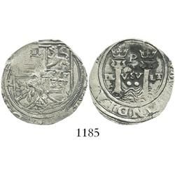 Lima, Peru, 2 reales, Philip II, assayer Rincon, motto as PL-VSV-LT, rare.