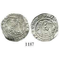 Lima, Peru, 1 real, Philip II, assayer Rincon, motto as P-LV-S below dot.