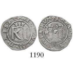 Lima, Peru, cob 1/2 real, Philip II, assayer Rincon.