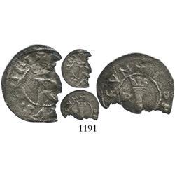 Lima, Peru, 1/4 real, Philip II, assayer Rincon, extremely rare.