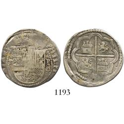 Lima, Peru, cob 2 reales, Philip II, assayer Diego de la Torre, *-I to left, P-oD/X to right, king's