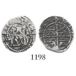 Lima, Peru, cob 1/2 real, Philip II, assayer Diego de la Torre, oD to left, * to right of monogram.