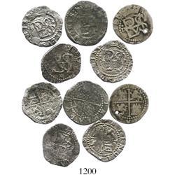 Lot of 5 Lima, Peru, cob 1/2R, Philip II, assayer Diego de la Torre, various varieties.