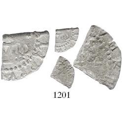 """Lima, Peru, cob """"1/8 real"""" (quarter cut of a 1/2 real), Philip II, assayer Diego de la Torre, * to r"""