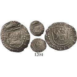 Lima, Peru, cob 1/4 real, Philip II, assayer Diego de la Torre, P to left of castle.