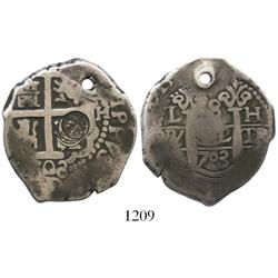 Lima, Peru, cob 8 reales, 1703H, with Guatemala (Type II, 1843) countermark struck 4 times (rare).