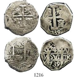 Lot of 2 Lima, Peru, cob 4R, 1701H and 1739V, both possibly contemporary counterfeits.