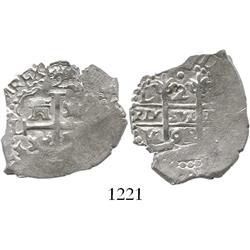 Lima, Peru, cob 2 reales, 1692V, ex-Panama  swamp hoard.