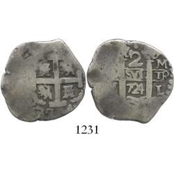 Lima, Peru, cob 2 reales, 1724M, rare.