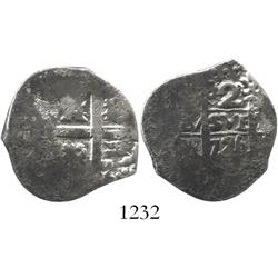 Lima, Peru, cob 2 reales, 1726M.