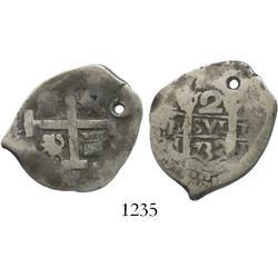 Lima, Peru, cob 2 reales, 1732N.