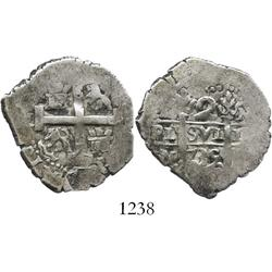Lima, Peru, cob 2 reales, 1735N.