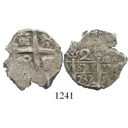 Lima, Peru, cob 2 reales, 1737N.