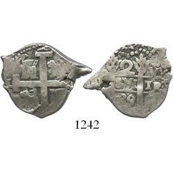 Lima, Peru, cob 2 reales, 1739/8V, rare overdate (unlisted).