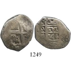 Lima, Peru, cob 2 reales, 1746V, scarce.