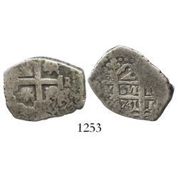 Lima, Peru, cob 2 reales, 1751R, rare.
