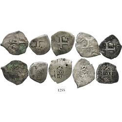 Lot of 5 Lima, Peru, cob 2R, various dates (1718M, 1733N, 1735N, 1751[R], 1752[R]).