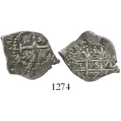 Lima, Peru, cob 1 real, 1697/5H/R, unique overdate and over-assayer.