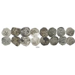 Lot of 8 Lima, Peru, cob 1R, Charles II, various dates (where visible).
