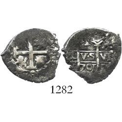 Lima, Peru, cob 1 real, 1701H, Philip V.