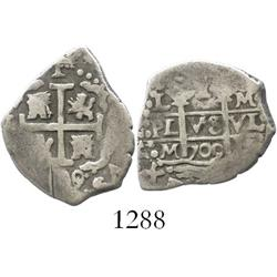 Lima, Peru, cob 1 real, 1709/8M, overdate below cross only.