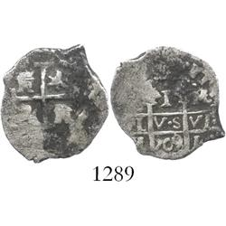 Lima, Peru, cob 1 real, 1709/8M, overdate on pillars side only.