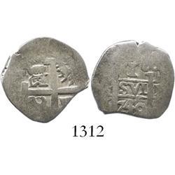 Lima, Peru, cob 1 real, 1740/39V, rare (unlisted) overdate.