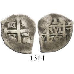 Lima, Peru, cob 1 real, 1741/0V, rare (unlisted) overdate.