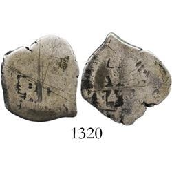 Lima, Peru, cob 1 real, 1747V, rare.
