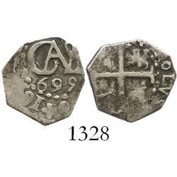 Lima, Peru, cob 1/2 real, 1695.