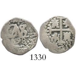 Lima, Peru, cob 1/2 real, 1698.