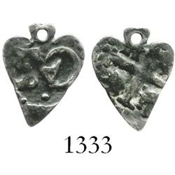 Lima, Peru, cob 1/2 real, Charles II, date not visible, cut into heart shape.