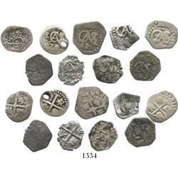 Lot of 9 Lima, Peru, cob 1/2R of Charles II, various dates (1684, 1685, 1688, 1690, 1694, 1696, 1697
