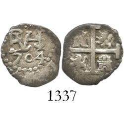 Lima, Peru, cob 1/2 real, 1704.