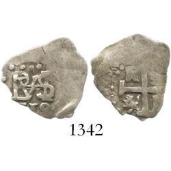 Lima, Peru, cob 1/2 real, 1710, rare.
